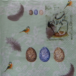 24376. Птицы и перья на зеленом. 15 шт., 8 руб/шт
