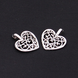 hm-1037. Подвеска Ажурное сердце, цвет серебро. 10 шт., 9 руб/ш