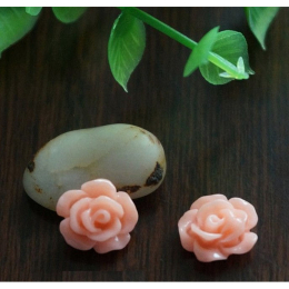 hm-1357. Кабошон Роза, цвет персиковый. 10 шт., 9 руб/шт