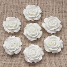 hm-1367. Кабошон Роза, цвет белый. 100 шт., 14 руб/шт