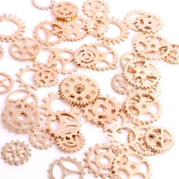 hm-1427. Шестеренки, цвет розовое золото, микс 50 шт