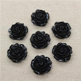 hm-1765. Кабошон Роза, черный. 5 шт., 22 руб/шт