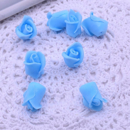 hm-1792. Розочка из фоамирана, голубая. 100 шт., 5 руб/шт
