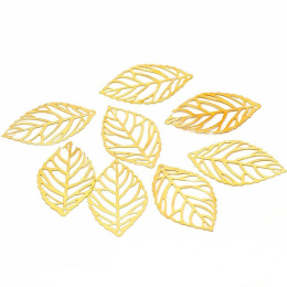hm-1941. Подвеска Лист, цвет золото. 50 шт., 4 руб/шт