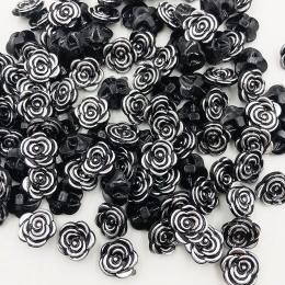 hm-2105. Пуговица Роза, цвет черно-серебряный