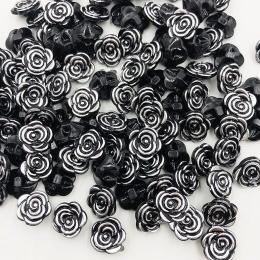 hm-2105. Пуговица Роза, цвет черно-серебряный. 10 шт., 9 руб/шт