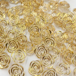 hm-2106. Пуговица Роза, цвет золото. 20 шт., 8 руб/шт