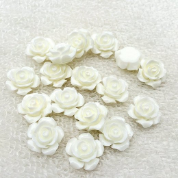 hm-2185. Кабошон Роза, белый. 10 шт., 14 руб/шт