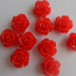 hm-2188. Кабошон Роза,  красный. 5 шт., 15 руб/шт