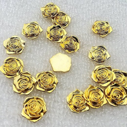 hm-2192.  Кабошон Роза, золотой. 10 шт., 8 руб/шт