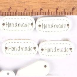 hm-2206. Табличка Handmade, белая. 10 шт., 8 руб/шт