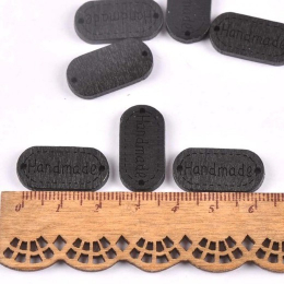 hm-2207. Табличка Handmade, черная. 20 шт., 7 руб/шт