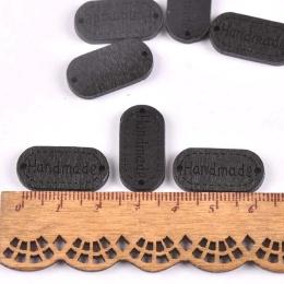 hm-2207. Табличка Handmade, черная. 5 шт., 10 руб/шт