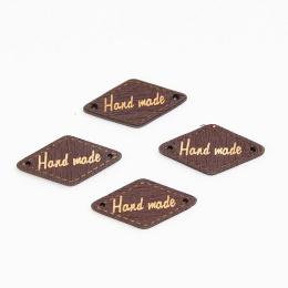 hm-2211. Табличка Handmade, ромб коричневая. 50 шт., 6 руб/шт