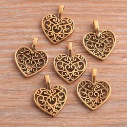 hm-2217. Подвеска Ажурное сердце, цвет золото, 10 шт., 10 руб/шт