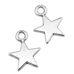 hm-2425. Подвеска Звезда, цвет серебро. 5 шт., 10 руб/шт