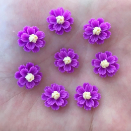 hm-2447. Кабошон Цветочек, цвет фиолетовый, 10 шт., 8 руб/шт