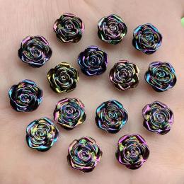 hm-2452. Кабошон Роза, перламутрово-черный. 50 шт., 6 руб/шт