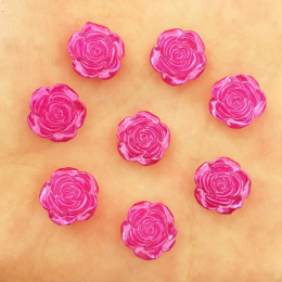 hm-2455. Кабошон Роза, цвет фуксия. 100 шт., 5 руб/шт