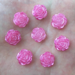 hm-2456. Кабошон Роза, цвет розовый. 10 шт., 8 руб/шт