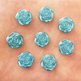 hm-2458. Кабошон Роза, цвет синий. 10 шт., 8 руб/шт