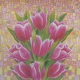 24028. Витраж тюльпанов. Двухслойная