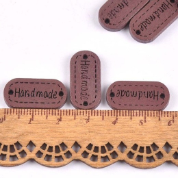 hm-2208. Табличка Handmade, коричневая. 5 шт., 10 руб/шт