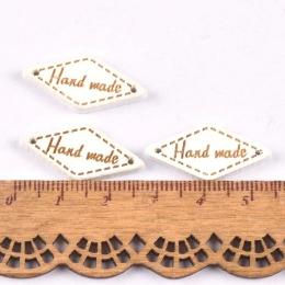 hm-2209. Табличка Handmade, ромб белая. 20 шт., 7 руб/шт